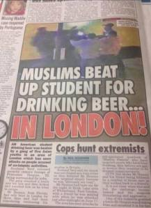 newspaper students beat up student for drinking beer london